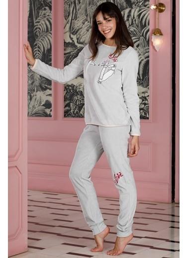 Hays Homewell Kadın Wellsoft Üst Kadife Alt 2 Li Uzun Pijama Takımı Gri